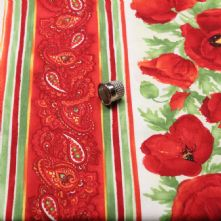 Red Poppies Print 100% Cotton Fabric x 0.5m
